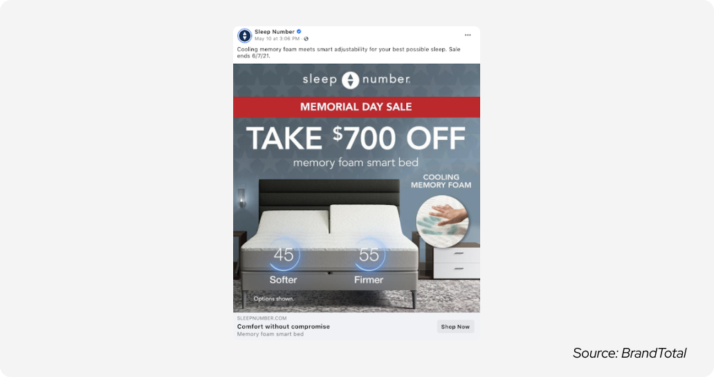 Memorial day - sleep number ad
