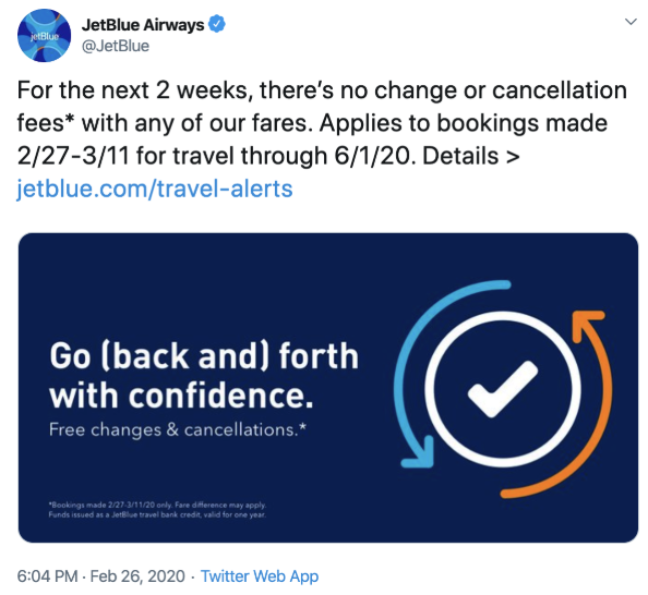 how jetblue is reacting to the coronavirus