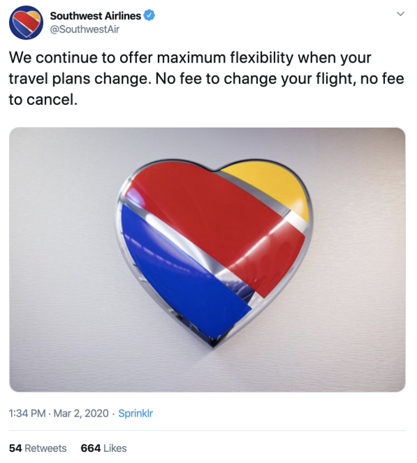 how southwest airlines is reacting to the coronavirus